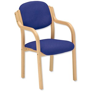 Image of Trexus Armchair Wood Upholstered Stackable Seat W465xD510xH480mm Blue
