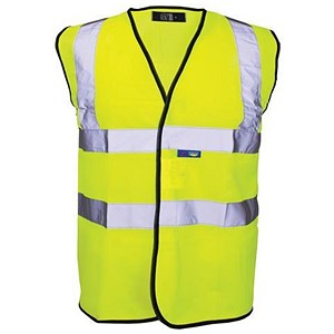 Image of Portwest High Visibility Vest Polyester Large Extra-Large Yellow Ref C470YER L/XL