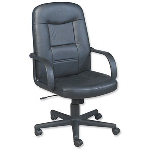 Image of Trexus Intro Managers Armchair Leather Tilt Back H630mm Seat W640xD490x450-540mm Black