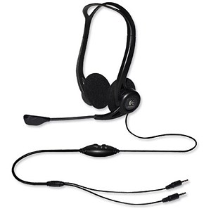 Image of Logitech PC860 Stereo Headset Adjustable Microphone Boom 3.5mm Audio Jack In-line Controls Ref 981-000094