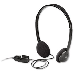 Image of Logitech Dialog 220 Headphones Lightweight with In-line Controls 20Hz-20kHz Black Ref 980177-0000