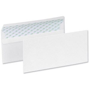 Image of Ecolabel Recycled Plain DL Wallet Envelopes - White - Press Seal - 90gsm - Pack of 1000