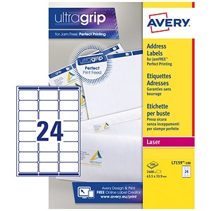 Image of Avery Addressing Labels Laser Jam-free 24 per Sheet 63.5x33.9mm White Ref L7159-100 [2400 Labels]