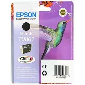 Image of Epson T0801 Inkjet Cartridge Claria Hummingbird Page Life 300-355pp Black Ref C13T08014010