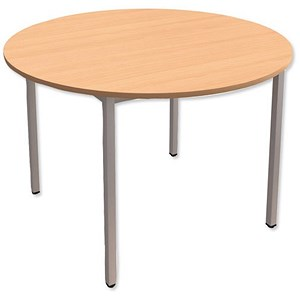 Image of Trexus Circular Table with Silver Legs 18mm Top Dia1100xH725mm Beech
