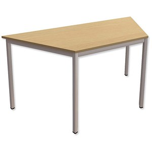 Image of Trexus Trapezoidal Table with Silver Legs 18mm Top W1500xD650xH725mm Oak