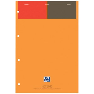 Image of Oxford International Notepad Narrow Ruled Perforated 160pp A4+ Orange/Grey Ref 100102359 [Pack 5]