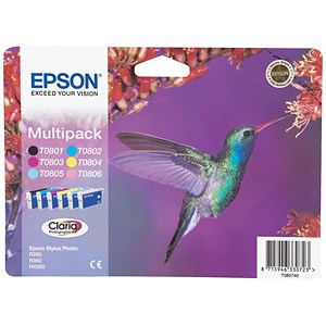 Image of Epson T0807 Inkjet Cartridge Claria Hummingbird 6 Colours Ref C13T08074010 [Pack 6]