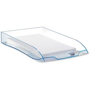 Image of CEP Premier Letter Tray Foolscap W270xD370xH61mm Blue Ice Ref 921646