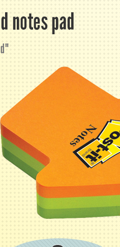 Post-it arrow shaped notes pad