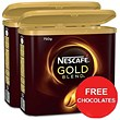 Nescafe Gold Blend Instant Coffee Tin / 750g x 2 / Offer Includes FREE Chocolates