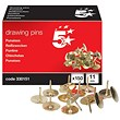 5 Star Brassed Drawing Pins / 11mm Head / Pack of 150