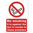 No Smoking Sign 148x210mm (A5) White Self-adhesive Vinyl