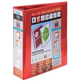 Image of Elba Panorama Leverless Arch Binder / 2 Ring / 55mm Spine / 40mm Capacity / A4 / Red / Pack of 5