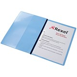 Image of Rexel Nyrex Boardroom Flat Files / Inside Front Full Pocket / Semi-rigid / A4 / Blue / Pack of 5