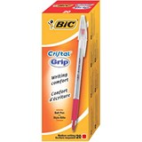 Image of Bic Cristal Grip Ball Pen / Clear Barrel / Red / Bulk Pack / Pack of 20 x 5