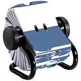 Image of Rolodex Classic 200 Rotary Business Card Index File with 200 Sleeves & A-Z Index Tabs - Black