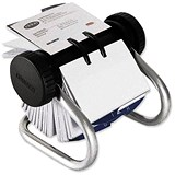 Image of Rolodex Classic 200 Rotary Business Card Index File with 200 Sleeves & A-Z Index Tabs - Chrome