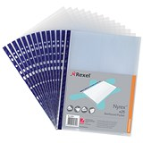 Image of Rexel Nyrex Reinforced Pockets with Blue Strip / Top-opening / A4 / Clear / Pack of 25