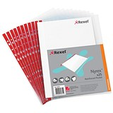 Image of Rexel Nyrex Reinforced Pockets with Red Strip / Side-opening / A4 / Clear / Pack of 25