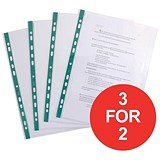 Image of Elba Clear Multipunched Pockets with Green Strip / A4 / Pack of 100 / 3 for the Price of 2