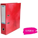 Elba A4 Lever Arch File / Laminated Gloss Finish / 70mm Spine / Red / 5 for the Price of 4