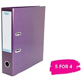 Elba A4 Lever Arch File / Laminated Gloss Finish / 70mm Spine / Metallic Purple / Buy 4 get 1 free