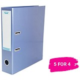 Elba A4 Lever Arch File / Laminated Gloss Finish / 70mm Spine / Metallic Blue / 5 for the Price of 4