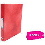 Image of Elba Ring Binder / Laminated Gloss Finish / 2 O-Ring / 25mm Capacity / A4 / Red / 5 for the Price of 4