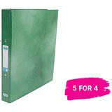 Image of Elba Ring Binder / Laminated Gloss Finish / 2 O-Ring / 25mm Capacity / A4 / Green / 5 for the Price of 4