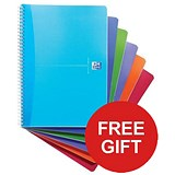 Image of Oxford Office Wirebound Notebook / A4 / 180 Pages / Random Bright Colour / 2 x Pack of 5 / Offer Includes FREE Pens