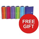 Image of Oxford Office Wirebound Notebook / A5 / 180 Pages / Random Bright Colour / 2 x Pack of 5 / Offer Includes FREE Pens