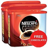 Image of Nescafe Original Instant Coffee Granules / 750g Tin x 2 / Offer Includes FREE Milky Bar Buttons