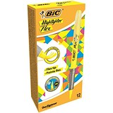 Image of Bic Grip Pen-shaped Highlighter / Yellow / Pack of 12 / Offer Includes FREE Pack of Highlighters