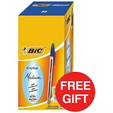 Image of Bic Cristal Ball Pen / Clear Barrel / Blue / Pack of 50 / Offer Includes FREE Pens