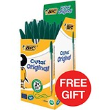 Image of Bic Cristal Ball Pen / Clear Barrel / Green / Pack of 50 / Offer Includes FREE Pens