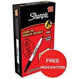 Image of Sharpie Twin Tip Permanent Marker / Black / Pack of 12 / Offer Includes FREE Pack of Highlighters