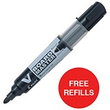 Image of Pilot V Board Master Whiteboard Markers / Black / Pack of 10 / Offer Includes FREE Pack of Refills