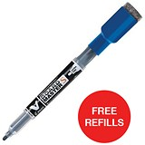 Image of Pilot V Board Master S Markers / Extra Fine Tip / Blue / Pack of 10 / Offer Includes FREE Pack of Refills