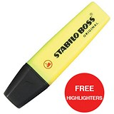 Image of Stabilo Boss Highlighters / Yellow / Pack of 10 / Offer Includes FREE Pack of Highlighters