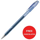 Image of Zebra RX Rollerball Gel Ink Stick Pen / Medium / Blue / 2 x Packs of 12 / Offer Includes FREE Chocolates