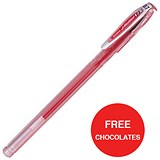 Image of Zebra RX Rollerball Gel Ink Stick Pen / Medium / Red / 2 x Packs of 12 / Offer Includes FREE Chocolates