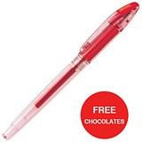 Image of Zebra Jimnie Rollerball Gel Ink Pen / Medium / Red / 2 x Packs of 12 / Offer Includes FREE Chocolates