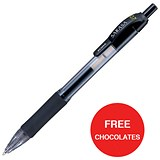 Image of Zebra Sarasa Retractable Rollerball Gel Ink Pen / Medium / Black / 2 x Packs of 12 / Offer Includes FREE Chocolates