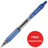Image of Zebra Sarasa Retractable Rollerball Gel Ink Pen / Medium / Blue / 2 x Packs of 12 / Offer Includes FREE Chocolates