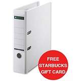Image of Leitz A4 Lever Arch Files / Plastic / 80mm Spine / White / Pack of 10 / Offer Includes FREE £5 Starbucks Gift Card