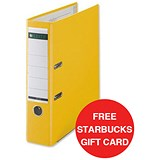 Image of Leitz A4 Lever Arch Files / Plastic / 80mm Spine / Yellow / Pack of 10 / Offer Includes FREE £5 Starbucks Gift Card