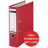 Image of Leitz A4 Lever Arch Files / Plastic / 80mm Spine / Red / Pack of 10 / Offer Includes FREE £5 Starbucks Gift Card