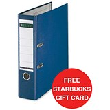 Image of Leitz A4 Lever Arch Files / Plastic / 80mm Spine / Blue / Pack of 10 / Offer Includes FREE £5 Starbucks Gift Card