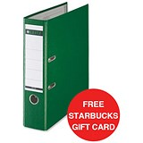Image of Leitz A4 Lever Arch Files / Plastic / 80mm Spine / Green / Pack of 10 / Offer Includes FREE £5 Starbucks Gift Card